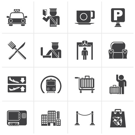 lodge: Black Airport, travel and transportation icons -  vector icon set 1