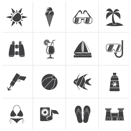 harpoon: Black Tropic, Beaches and summer icons - vector icon set Illustration