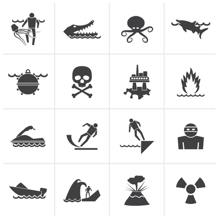 danger box: Black Warning Signs for dangers in sea, ocean, beach and rivers - vector icon set 1