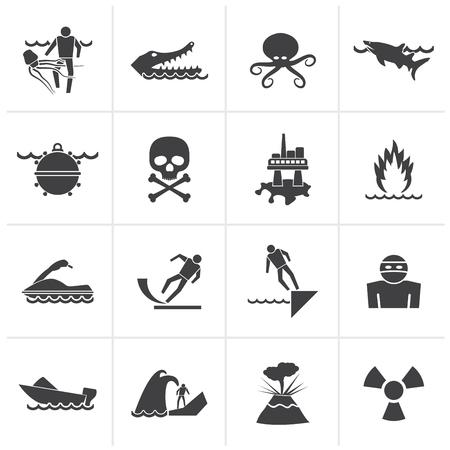 peligro: Señales de advertencia negros para peligros en el mar, océano, playa y ríos - conjunto de iconos vectoriales 1