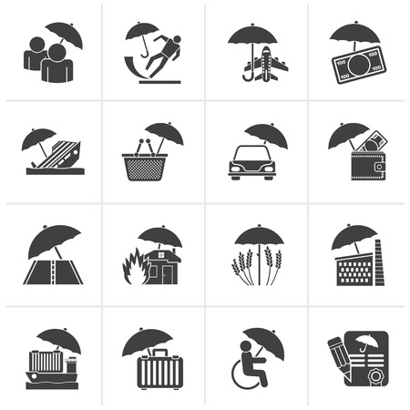 business risk: Black insurance, risk and business icons - vector icon set