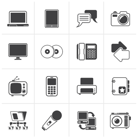 communication icons: Black Communication and connection technology icons - vector icon set Illustration