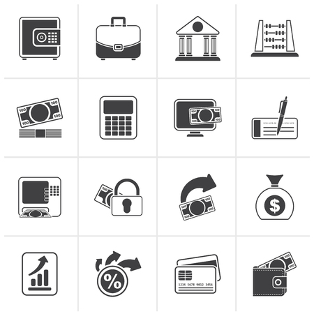 security check: Black Bank, business and finance icons - vector icon set Illustration