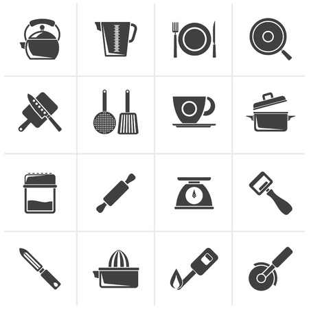 trencher: Black kitchen gadgets and equipment icons - vector icon set