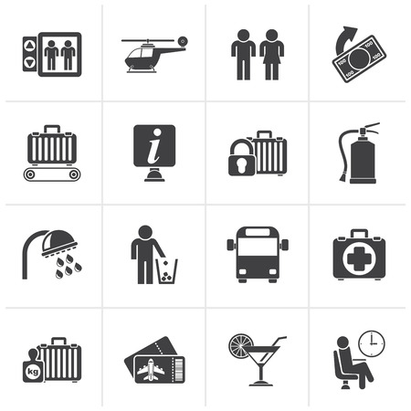 medical bill: Black Airport, travel and transportation icons -  vector icon set 2