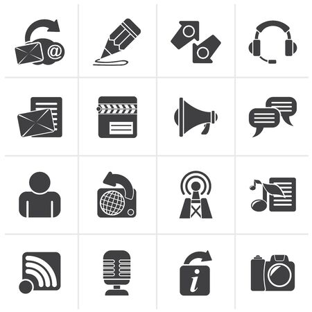 communication icons: Black Blogging, communication and social network icons - vector icon set