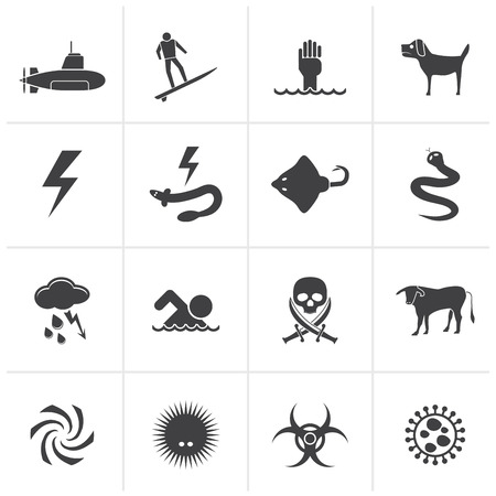 dangers: Black Warning Signs for dangers in sea, ocean, beach and rivers - vector icon set 2