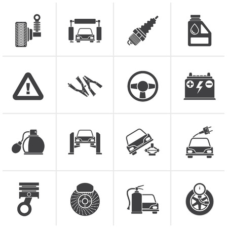 brake disc: Black Car and road services icons - vector icon set Illustration