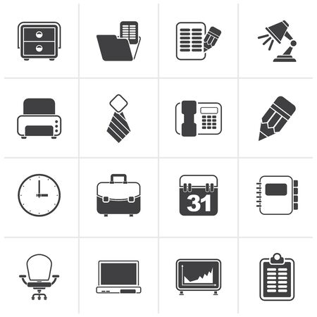 business equipment: Black Business and office equipment icons - vector icon set Illustration