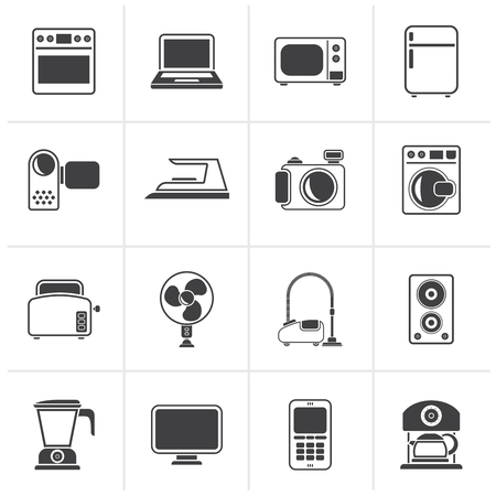 Black household appliances and electronics icons - vector, icon set Иллюстрация