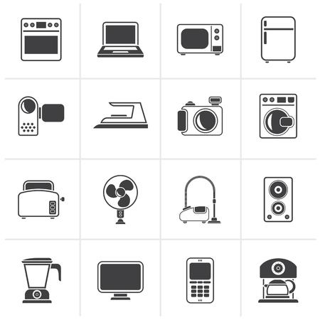 Black household appliances and electronics icons - vector, icon set Stock Illustratie
