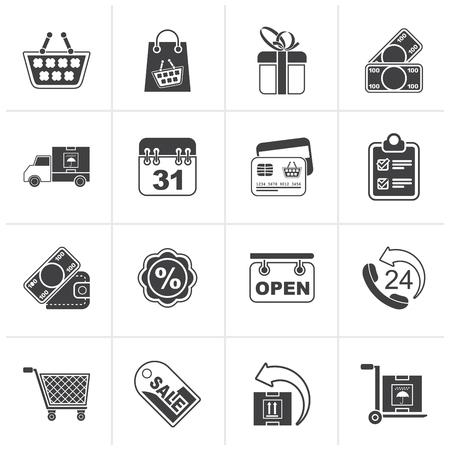 bankcard: Black Online shop icons - vector icon set