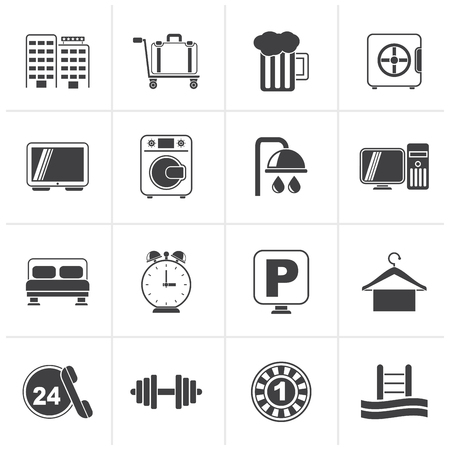 closet communication: Black Hotel and motel icons - Vector icon Set Illustration