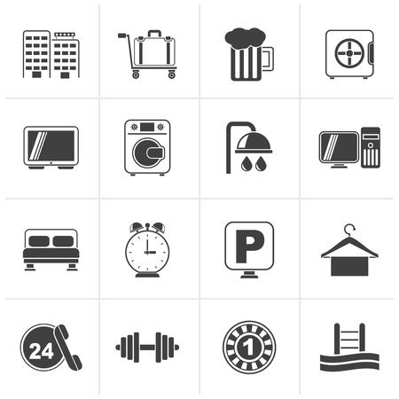 Black Hotel and motel icons - Vector icon Set Illustration
