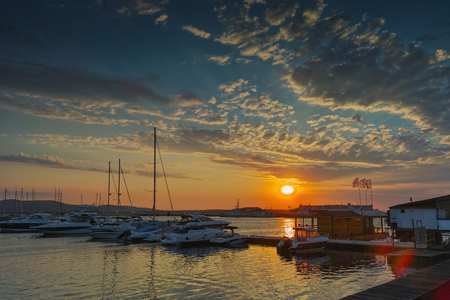 sunny beach: Sunset at the port of Sozopol town, Bulgaria Stock Photo