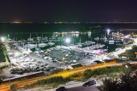 cruise travel: Night Panorama of port and boots, Sozopol, Bulgaria