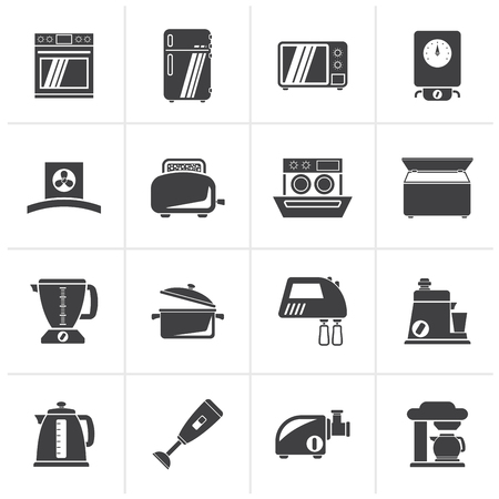 pots: Black kitchen appliances  and equipment icons - vector icon set