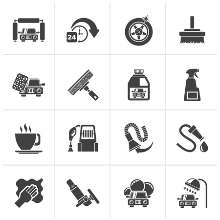 car icons: Black car wash objects and icons - vector icon set Illustration