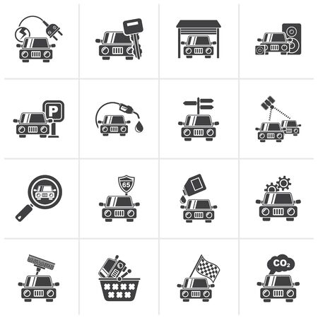 car icons: Black Car and road services icons - vector icon set Illustration