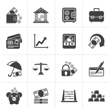 bankcard: Black Business, finance and bank icons - vector icon set
