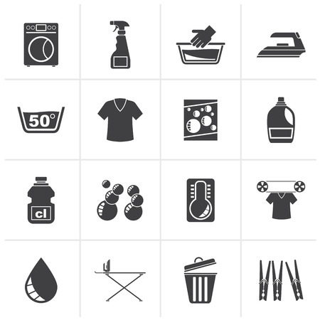 Black Washing machine and laundry icons - vector icon set
