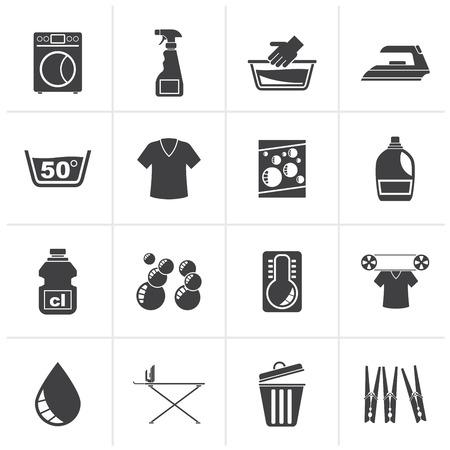 Black Washing machine and laundry icons - vector icon set