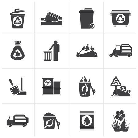 biological waste: Black Garbage and rubbish icons - vector icon set