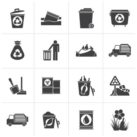 trashing: Black Garbage and rubbish icons - vector icon set
