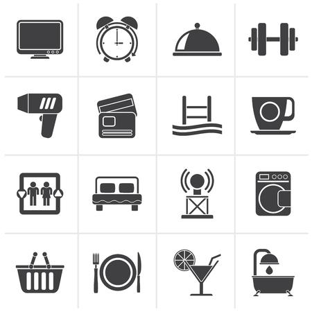 facilities: Black Hotel and Motel facilities icons - vector icon set