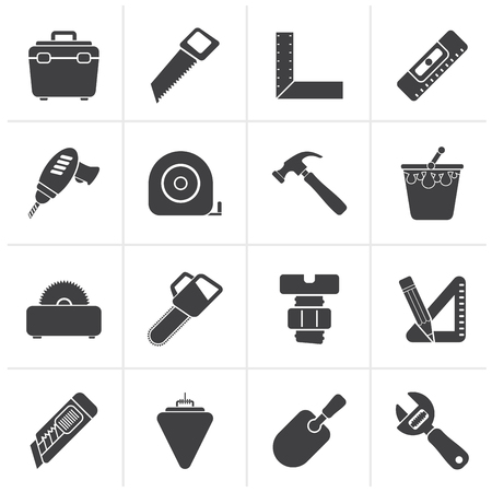 menu tool: Black Construction objects and tools icons- vector icon set