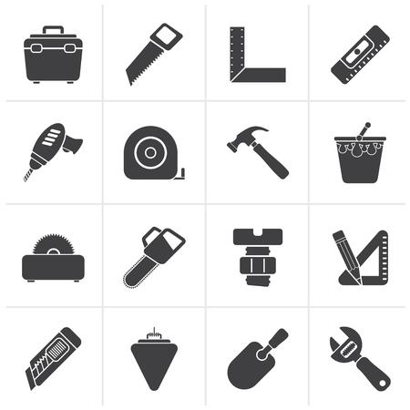 tool: Schwarz Construction Objekte und Werkzeuge Icons-Vektor-Icon-Set Illustration