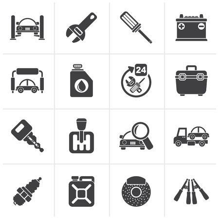 car icons: Black Car parts and services icons - vector icon set 1