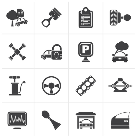 gasket: Black Car parts and services icons - vector icon set 2