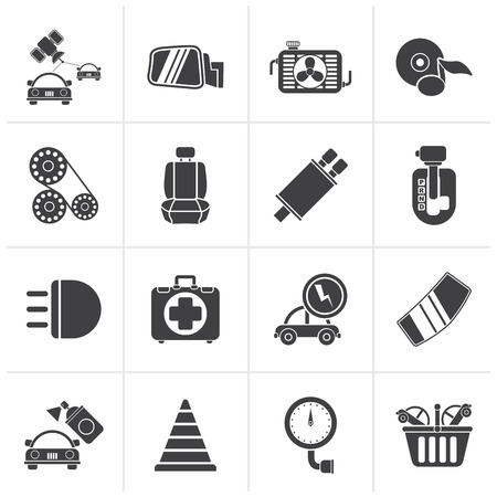 automatic transmission: Black Car parts and services icons - vector icon set 3