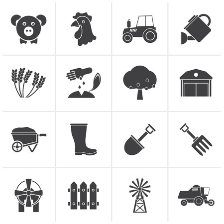 agrimotor: Black Agriculture and farming icons - vector icon set
