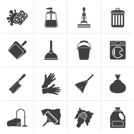 cleaning equipment: Black Cleaning and hygiene icons - vector icon set