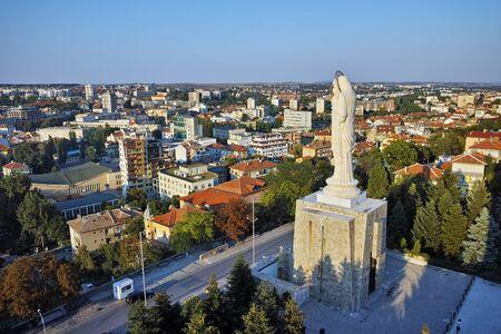 haskovo: Monument of Virgin Mary and panorama towards City of Haskovo, Bulgaria