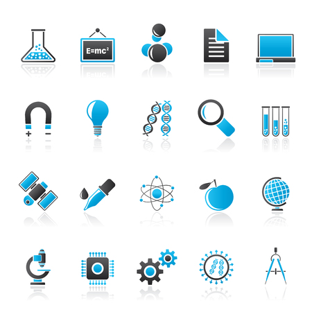 chips: Science, Research and Education Icons - Vector Icon set Illustration