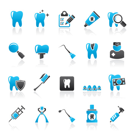 drill: dental medicine and tools icons  - Vector Icon set