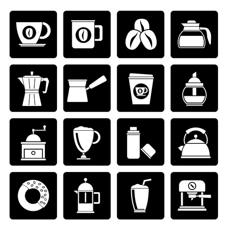 thermos: Black different types of coffee industry icons- vector icon set Illustration