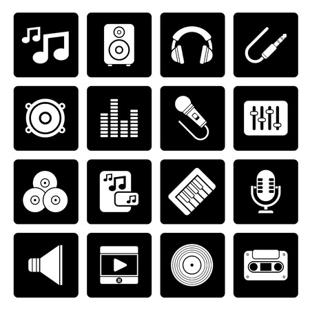 Black Music, sound and audio icons - vector icon set
