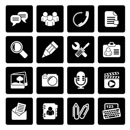 chat icons: Black Chat Application and communication Icons - vector icon set Illustration