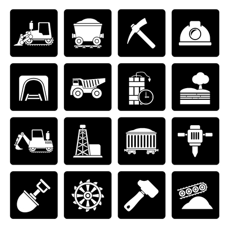 mine site: Black Mining and quarrying industry icons - vector icon set