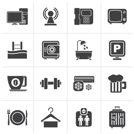 amenities: Black Hotel Amenities Services Icons - vector icon set