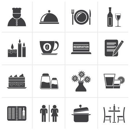 bar chair: Black Restaurant, cafe and bar icons- vector icon set Illustration