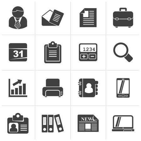 Zwart bedrijven en kantoren iconen - vector icon set