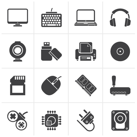peripherals: Black Computer peripherals and accessories icons - vector icon set Illustration