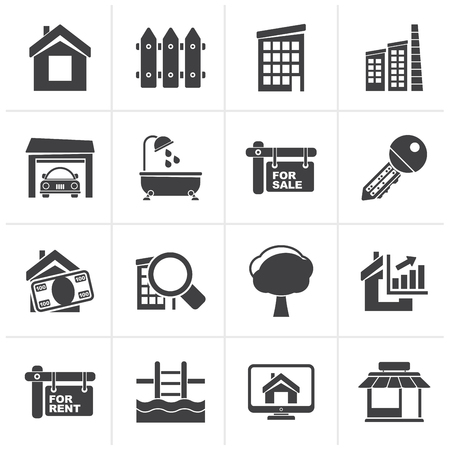 swimming pool home: Black Real Estate Icons - Vector Icon Set Illustration