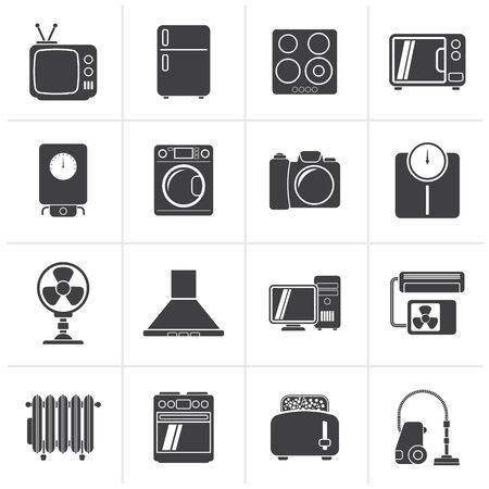 plate camera: Black home appliances and electronics icons - vector icon set