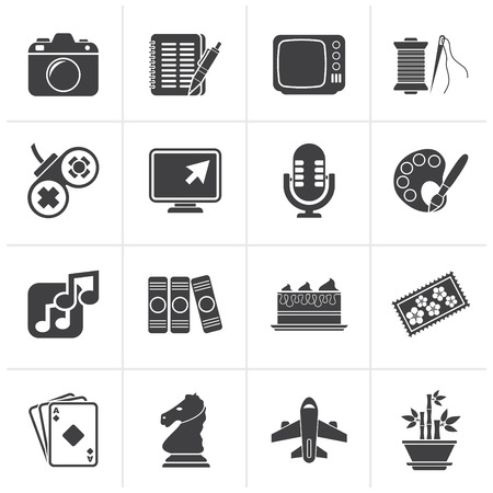 Black Hobbies and leisure Icons - vector icon set Illustration